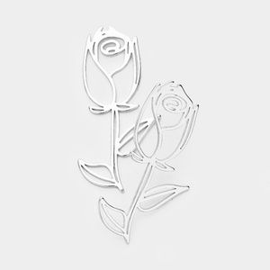 Rhodium Silver Rose Glass Cut Out Stud Earrings
